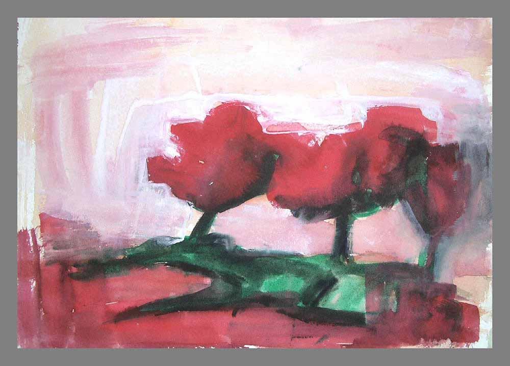 Βασίλης Λιάκος, Ζωγραφική, artvali.gr, Τοπίο με κόκκινα δέντρα 1992 υδατογραφία 25Χ18