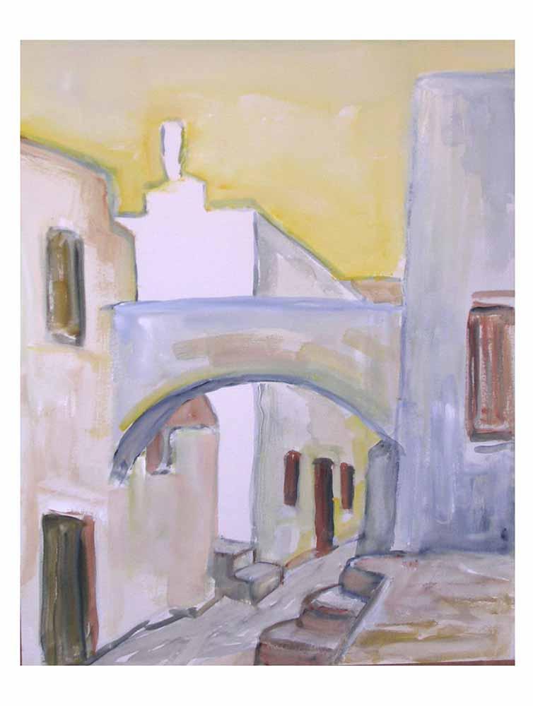 Βασίλης Λιάκος, Ζωγραφική, artvali.gr, Παλιό Κάστρο Νάξου Β'2002 υδατογραφία 32Χ40