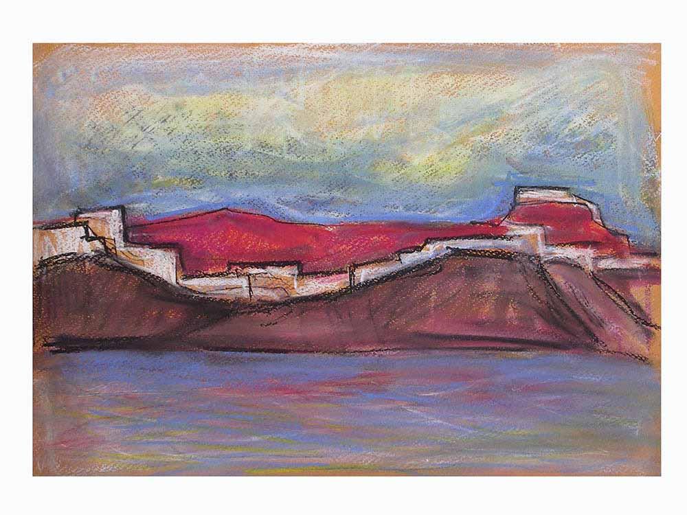 Βασίλης Λιάκος, Ζωγραφική, artvali.gr, Χώρα Αστυπάλαιας Γ' 2011 κρητιδογραφία 36Χ25
