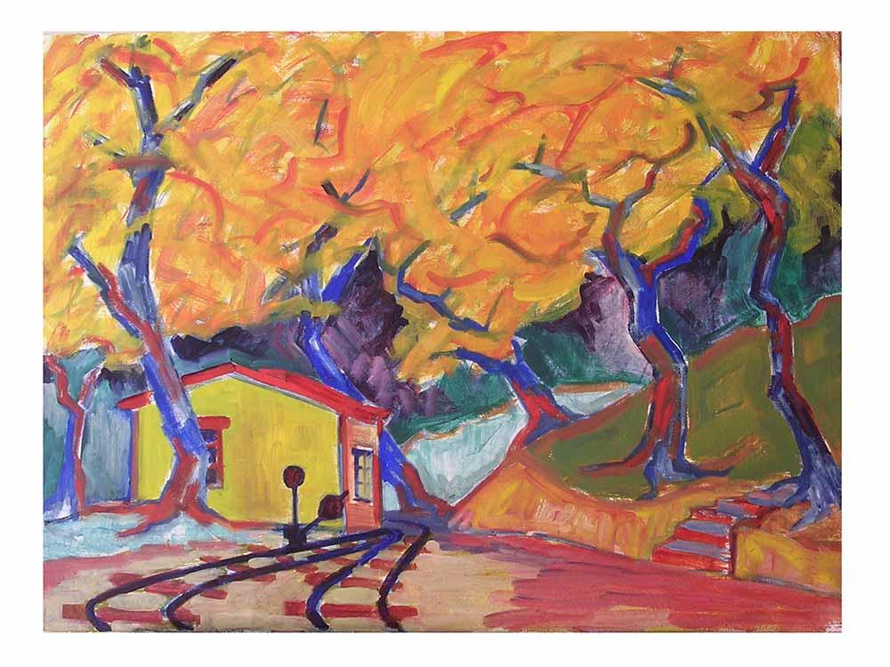 Βασίλης Λιάκος, Ζωγραφική, artvali.gr, Σταθμός στις Μηλιές Πηλίου 1997 ελαιογραφία 80Χ60