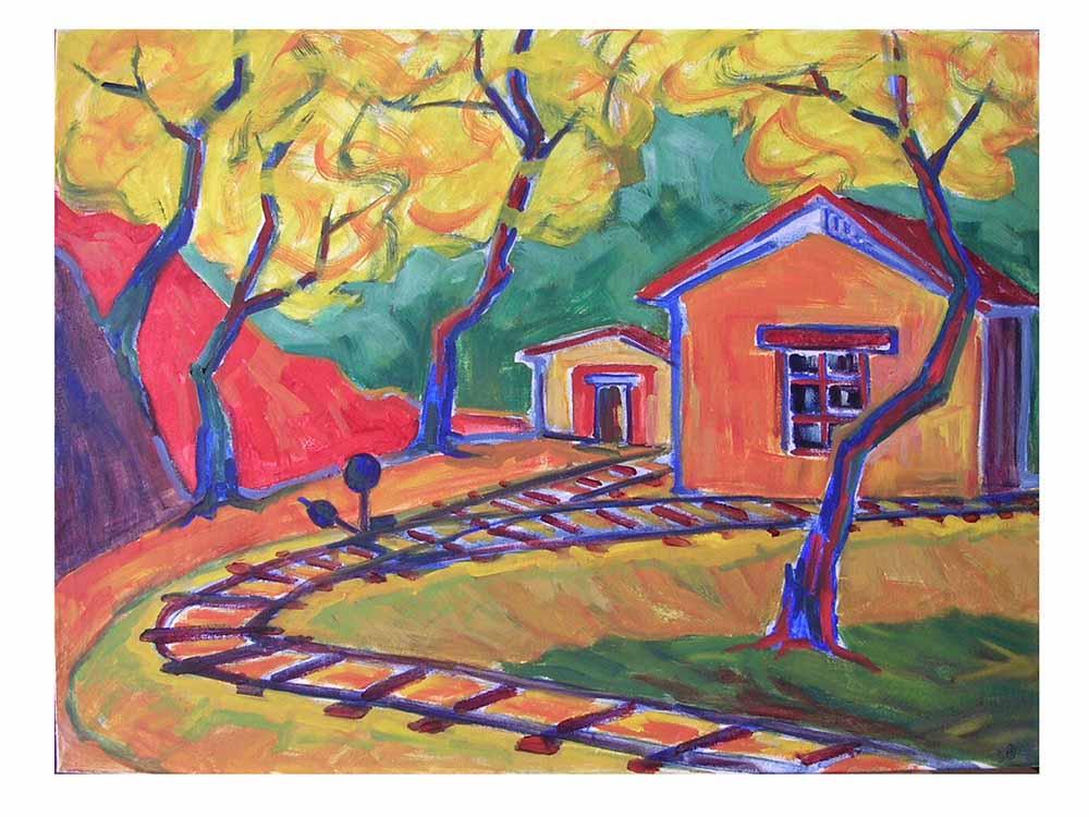 Βασίλης Λιάκος, Ζωγραφική, artvali.gr, Μπαίνοντας στο σταθμό Μηλιών Πηλίου 1997 ελαιογραφία 80Χ60