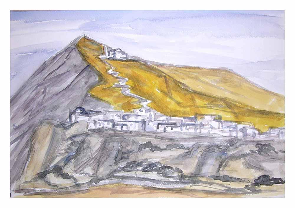 Βασίλης Λιάκος, Ζωγραφική, artvali.gr, Χώρα Φολεγάνδρου Γ΄ 2000 υδατογραφία 29Χ20
