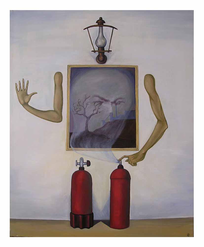 Βασίλης Λιάκος, Ζωγραφική, artvali.gr, «Η α-φύσικη ιστορία» 1995 ελαιογραφία σε καμβά 75Χ90