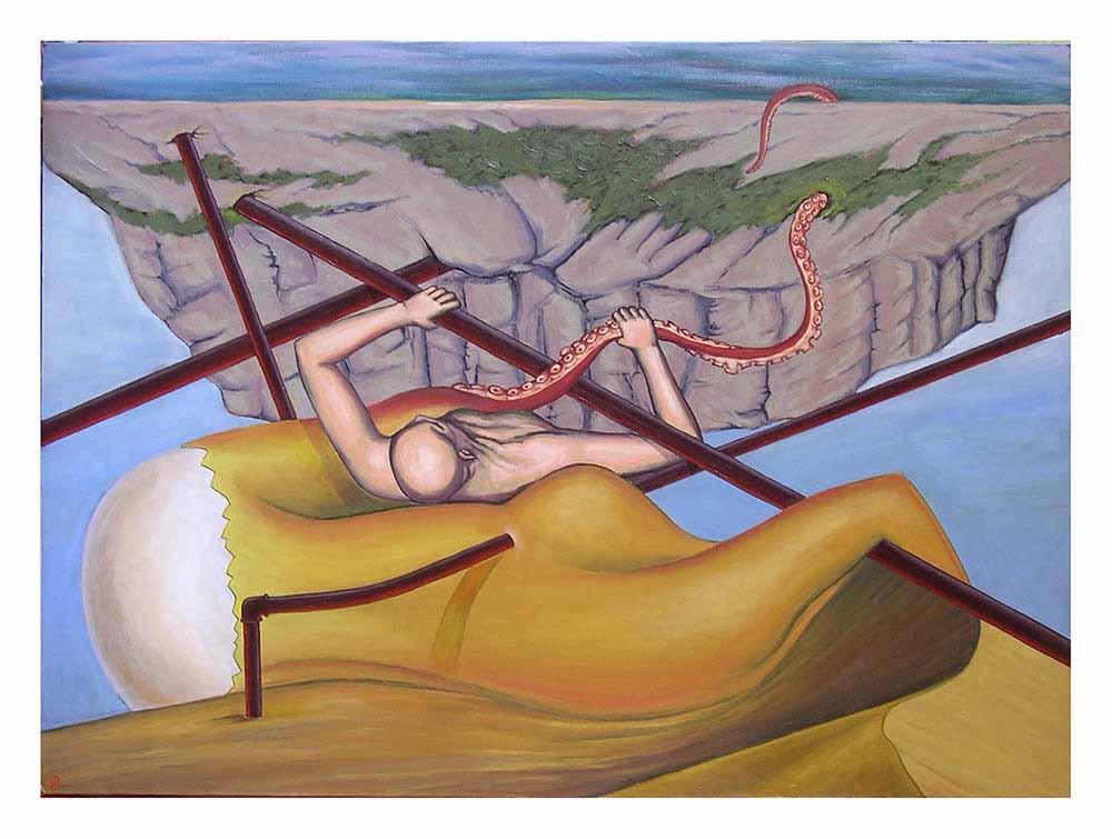 Βασίλης Λιάκος, Ζωγραφική, artvali.gr, «Σύνθλιψης» 2010 ελαιογραφία σε καμβά κολλημένο επί ξύλου 105Χ74 (πίνακας οροφής)