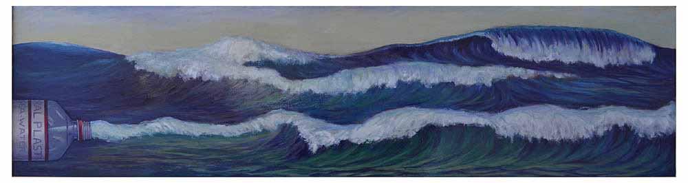 Βασίλης Λιάκος, Ζωγραφική, artvali.gr, «Πλαστικοποιημένη θάλασσα» 2019 ελαιογραφία σε καμβά κολλημένο επί ξύλου 195Χ50