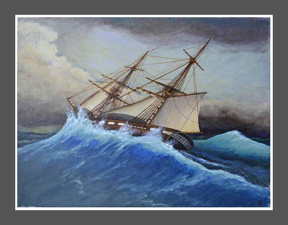 Βασίλης Λιάκος, Ζωγραφική, artvali.gr, «Πρώτο ταξίδι» (μπρίκι σε θαλασσοταραχή) 2017 ελαιογραφία σε καμβά κολλημένο επί ξύλου 77 Χ 58